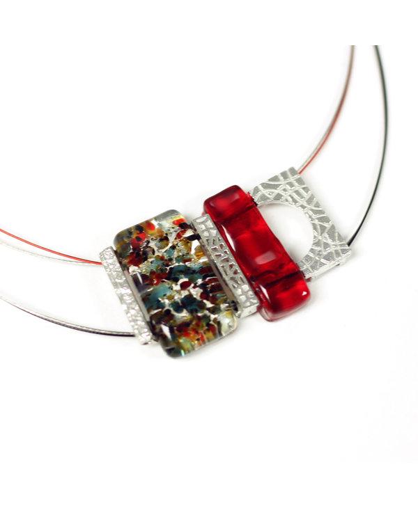 Collier pendantif mosaik rouge