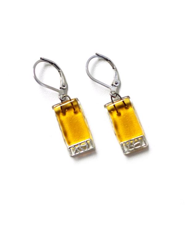 Boucle d'oreilles Mosaik sur verre doré