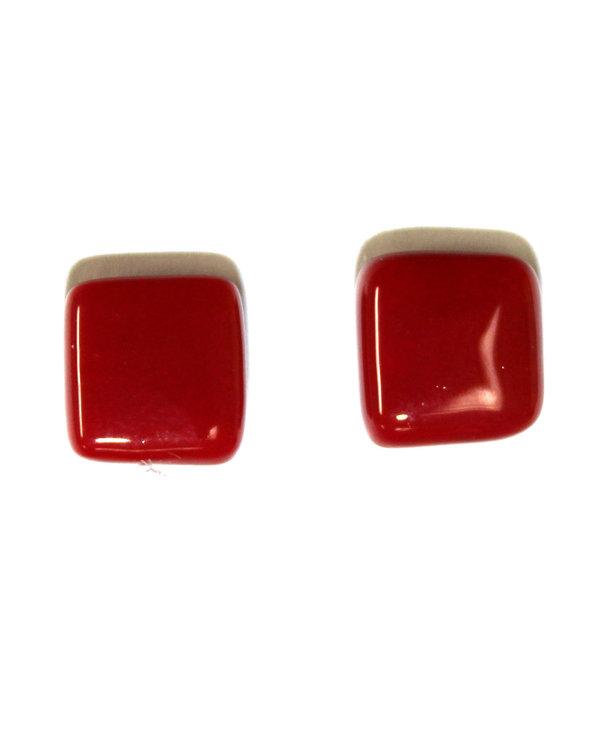 Boucle d'oreilles carré rouge