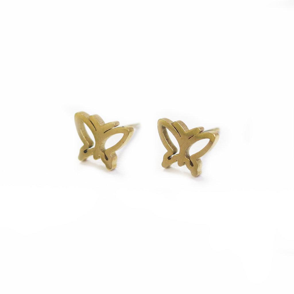 Cré-Art Boucle d'oreilles Stainless papillon or