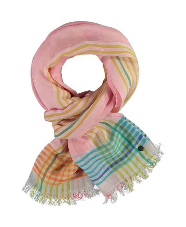 Foulard Bright border stripe linen pale rose