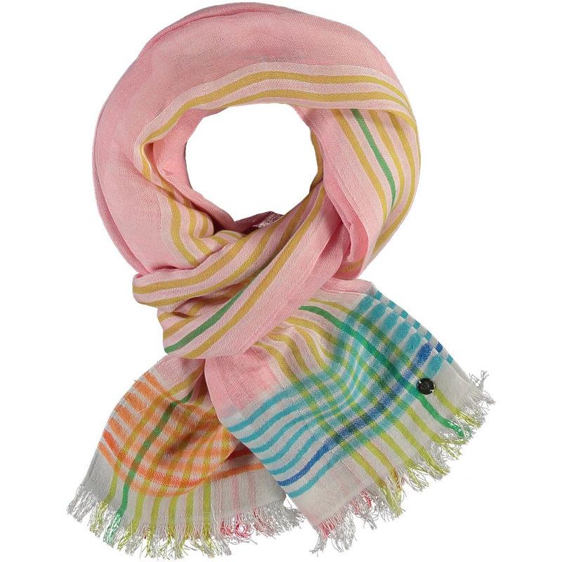 Fraas Foulard Bright border stripe linen pale rose