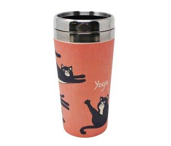 Verre à café chats yoga fibre de bamboo