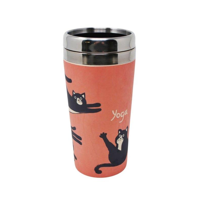 Nostalgia Verre à café chats yoga fibre de bamboo