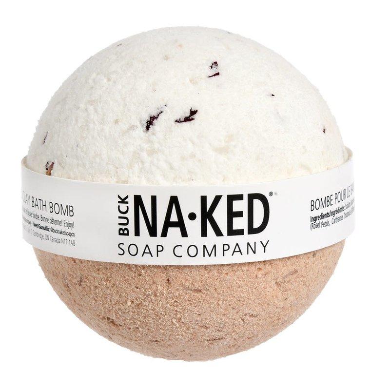 Buck Naked Soap Company Bombe de bain à la rose et à largile rouge marocaine