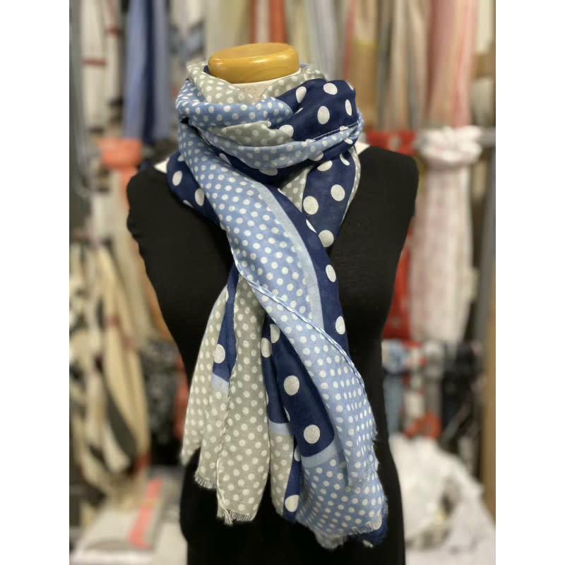 foulard à pois bleu/gris/blanc