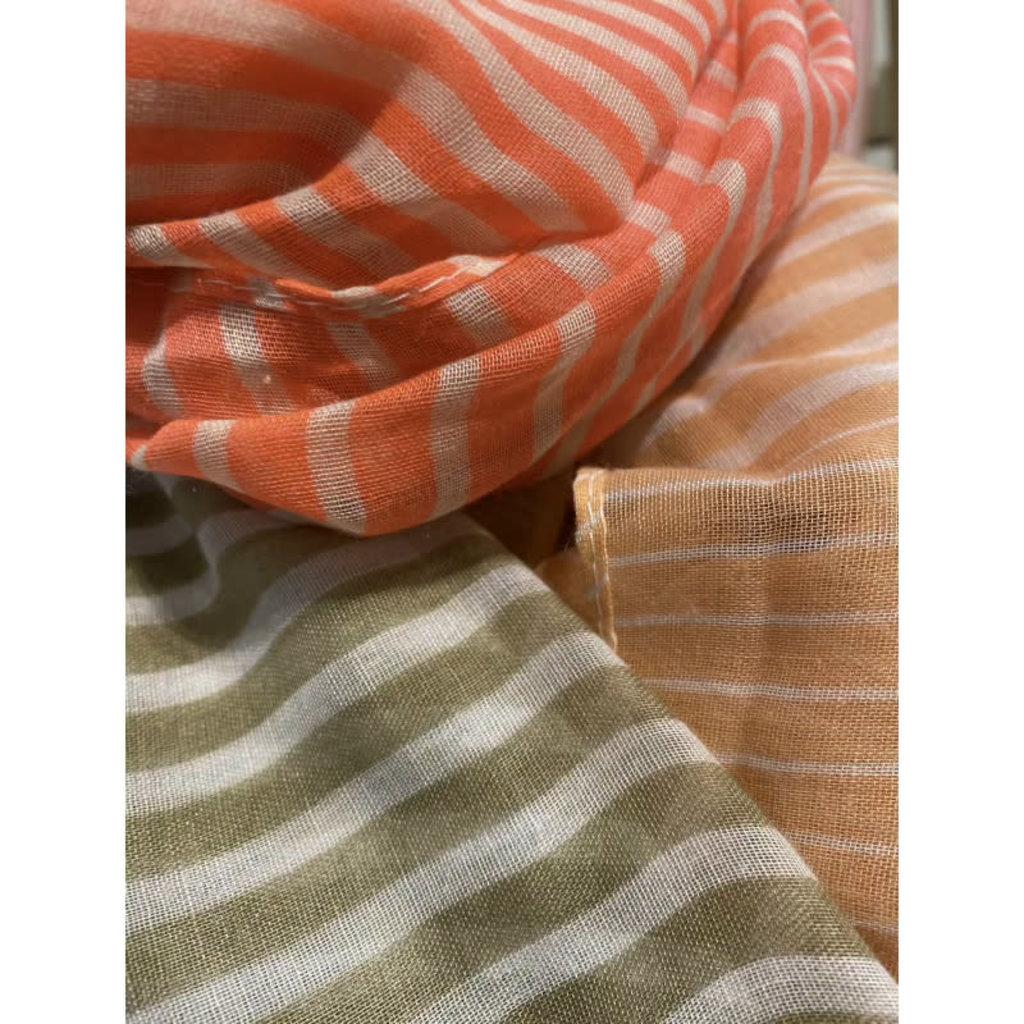 foulard ligné corail/orange/beige