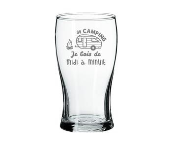 """Verre à bière """"Au camping je bois"""""""