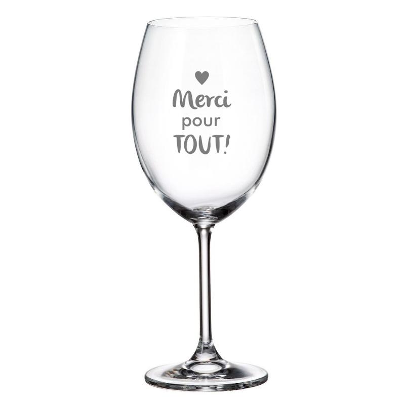 """Maison du bar Verre à vin gravé  """" Merci pour tout!"""""""