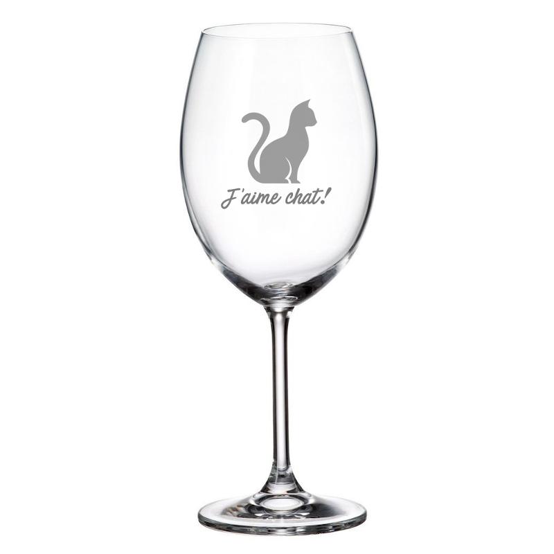 Maison du bar Verre à vin J'aime chat!