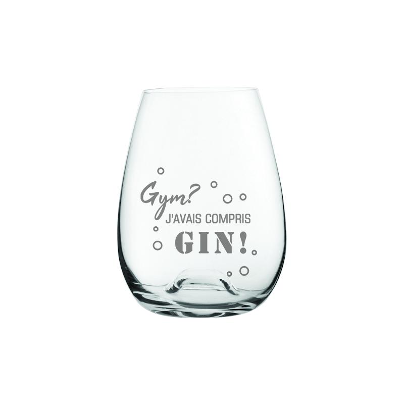 """Maison du bar Verre gravé """" Gym? J'avais compris Gin! """" (old Fashioned)"""