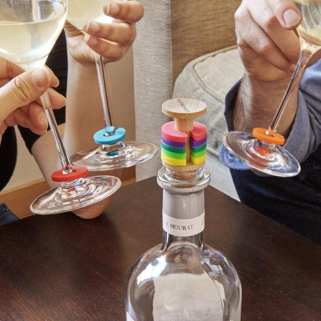 Kikkerland Anneaux à vin arc-en-ciel + bouchon