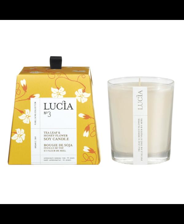 N°3 Bougie de soja Feuille de thé et miel sauvage 50h Lucia