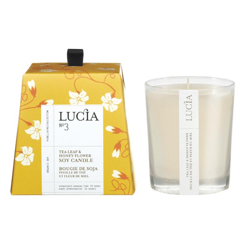 Lucia N°3 Bougie de soja Feuille de thé et miel sauvage 50h Lucia