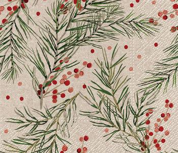 Serviettes de table de Noël Holly Napkins