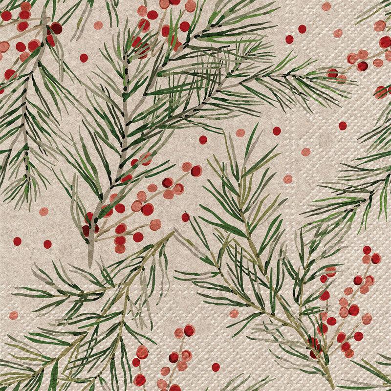 Abbott Serviettes de table de Noël Holly Napkins