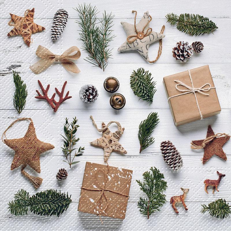 Abbott Serviettes de table de Noël Natural Christmas