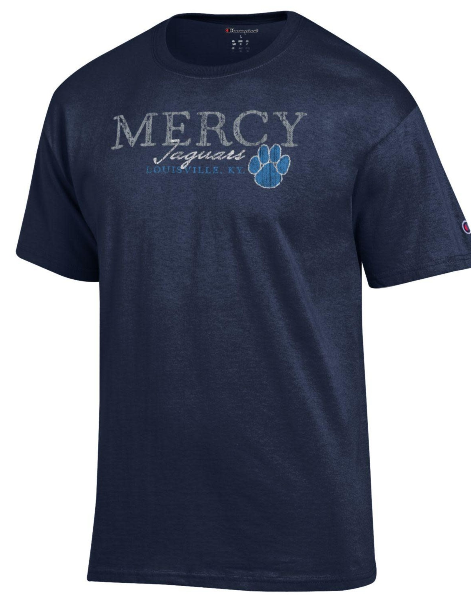 CHAMPION Mercy Jaguars Louisville KY Paw Print T-Shirt