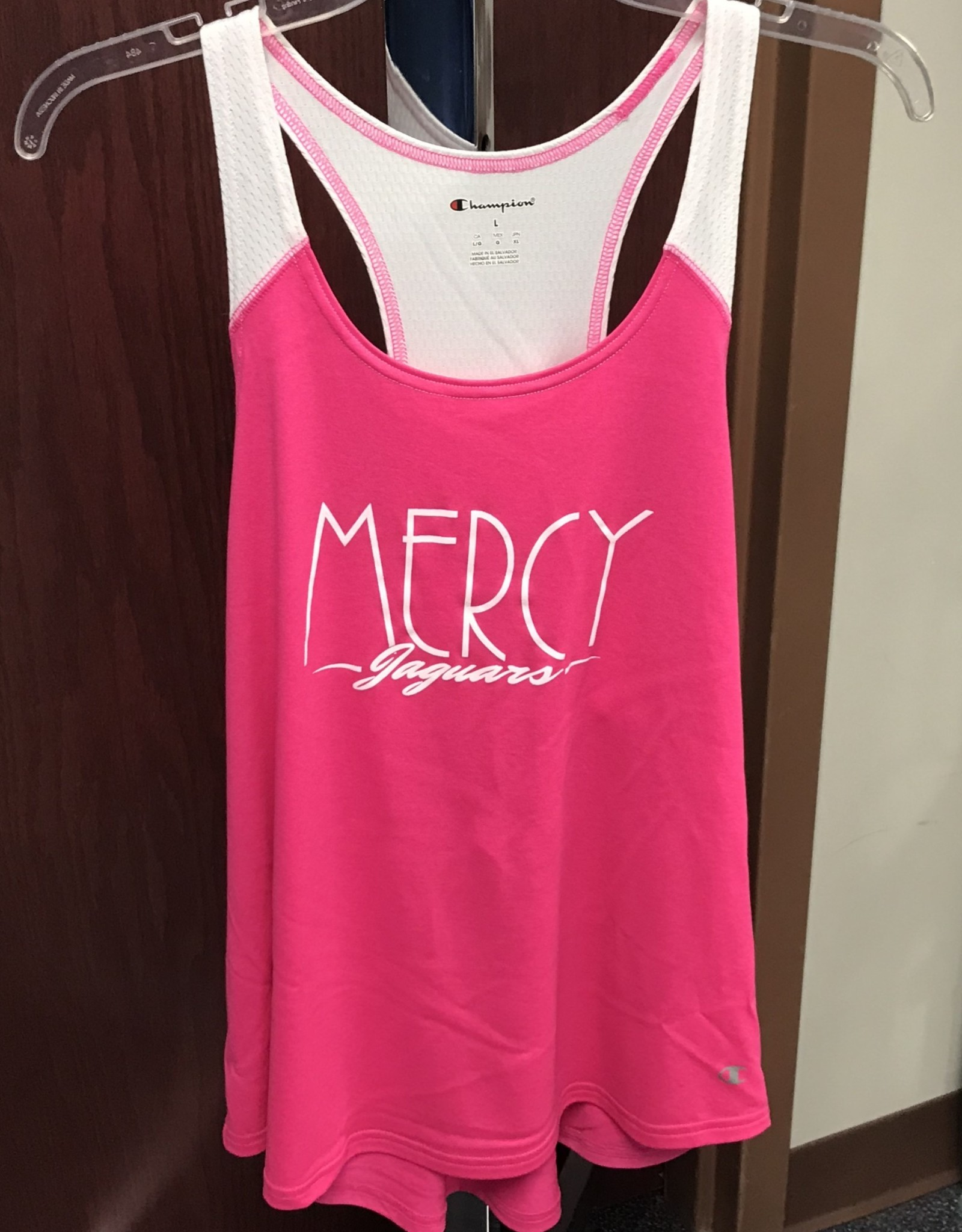 Mercy Jaguars - Pink & White Athletic Tank Top