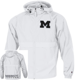 "CHAMPION Mercy Jaguars ""M"" Full Zip White Rain Jacket"