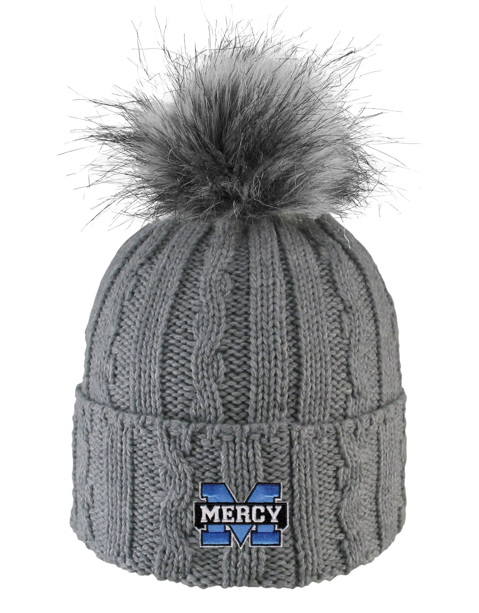 LOGOFIT Mercy Knit Beanie Hat with Faux Fur Pom