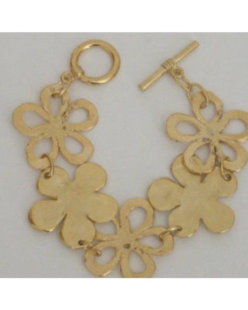 Handcast Gold Flower Bracelet