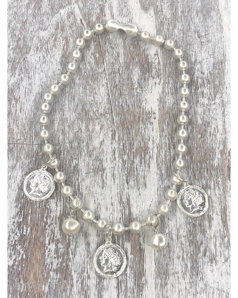 4 Soles Coin Necklace Silver Mate
