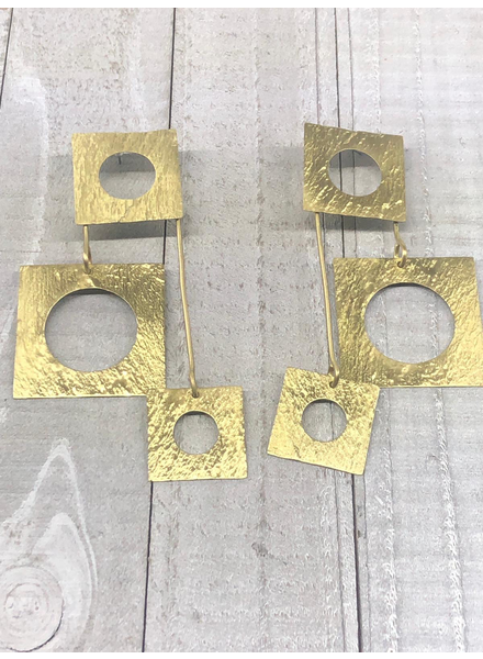 Square brass earrings