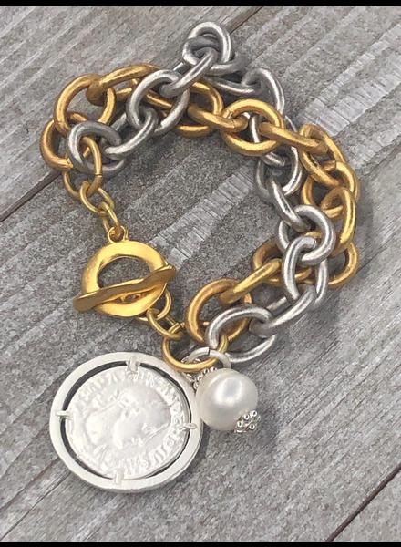 Gold silver coin Brazalet