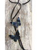 Butterflies Blue Brass necklace