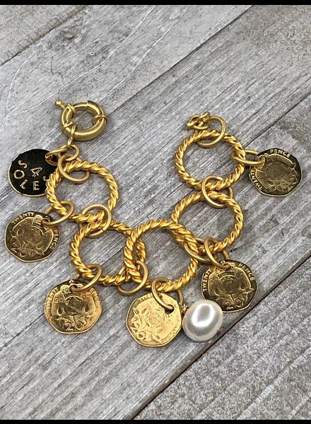 Brazalete monedas 4 soles Gold plated