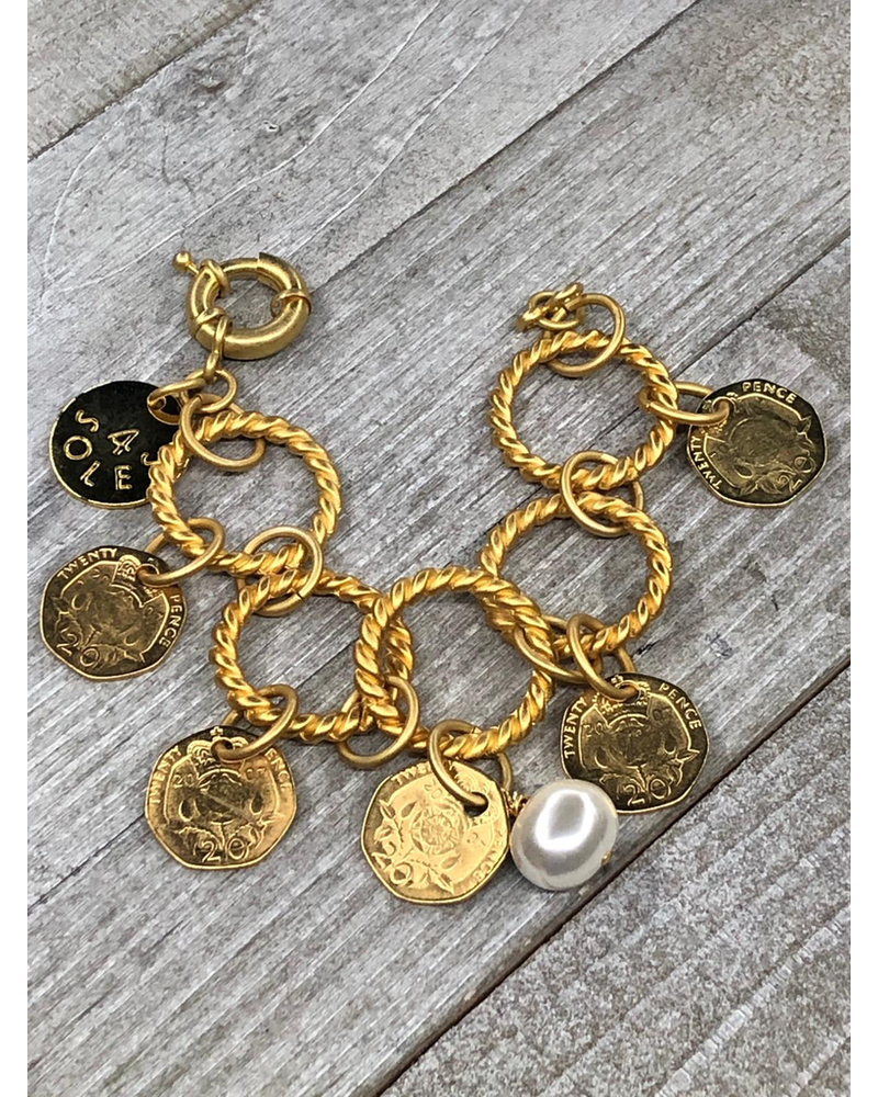 Brazalete monedas 4 soles Gold plated