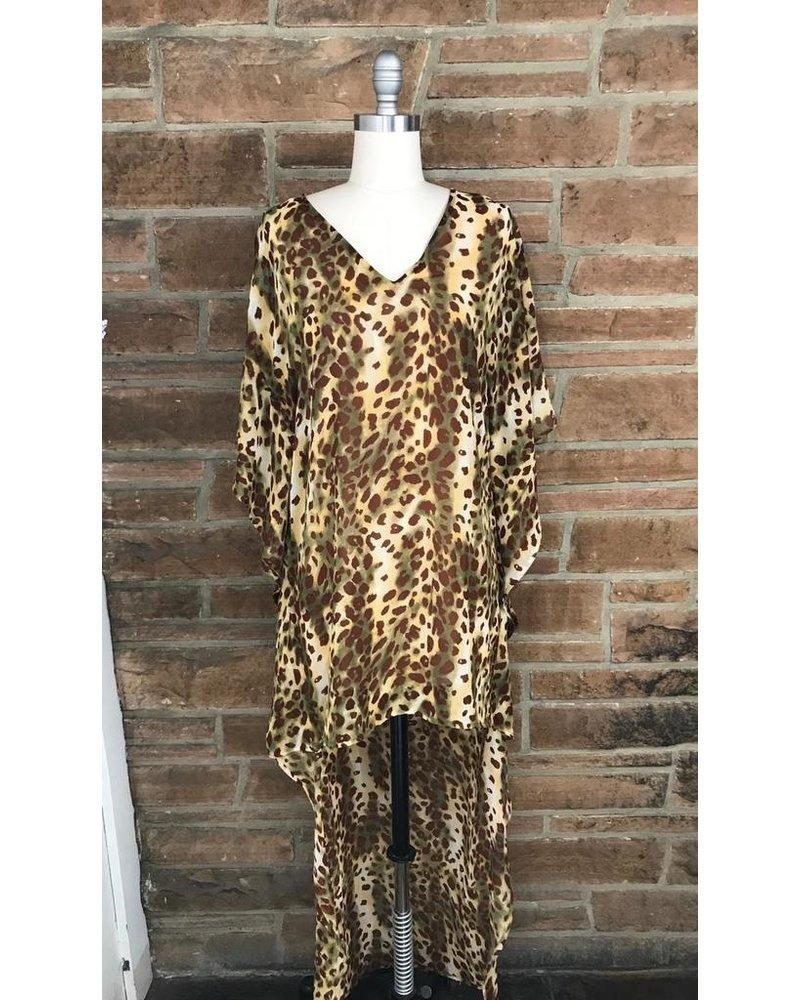 Leopard Hi Low Poncho Dress W Lining