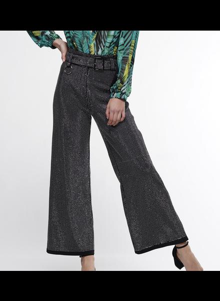 Heat Stone Beads Fabric Wide Leg High Rise Pant