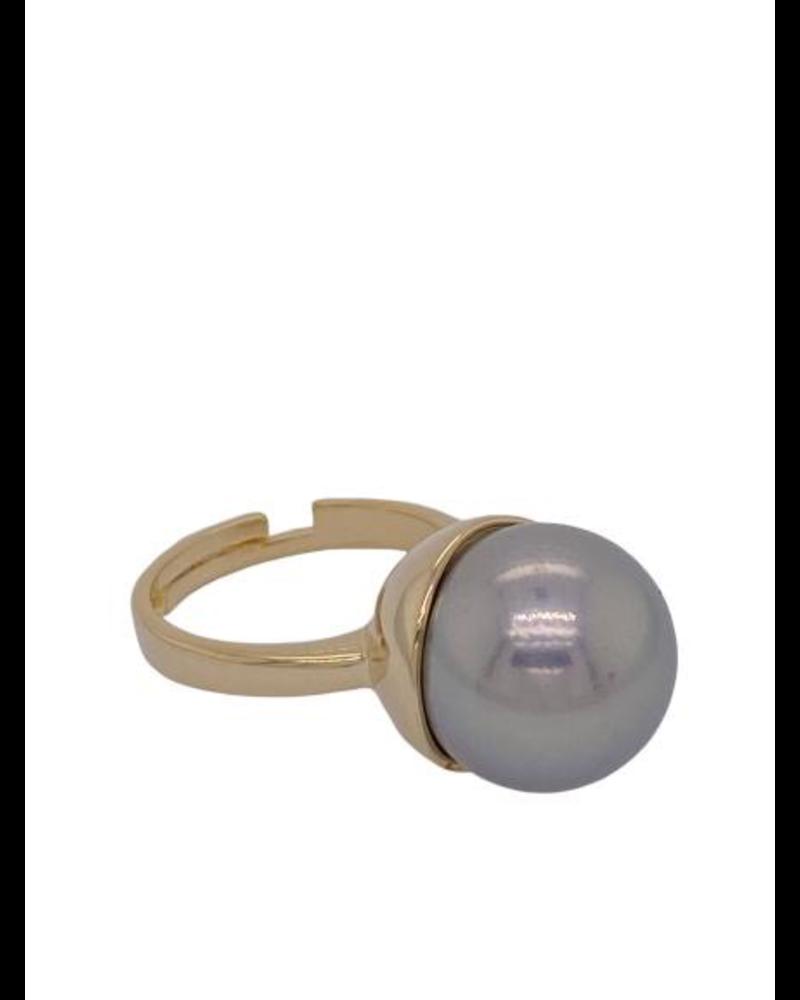 Grey Pearl gold Ring