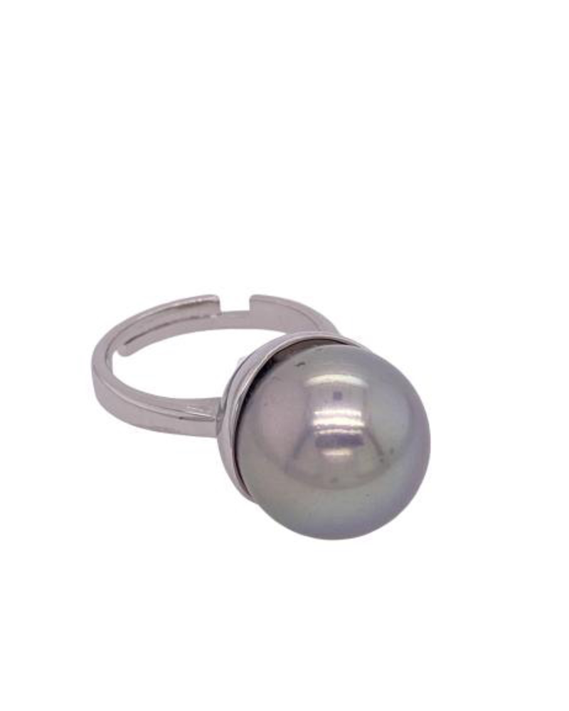 Grey Pearl Silver Ring