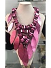 leather neckalace reversible pink and black