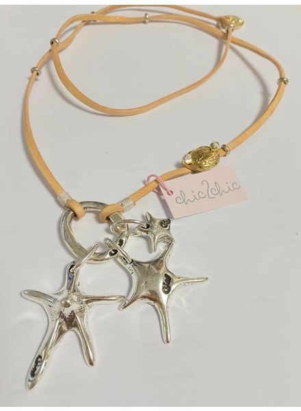STARFISH collar, natural, cuero