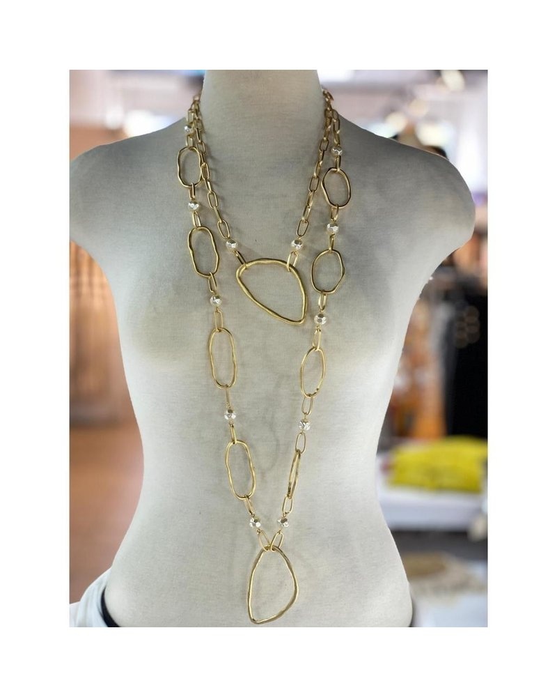 Double chain long necklace