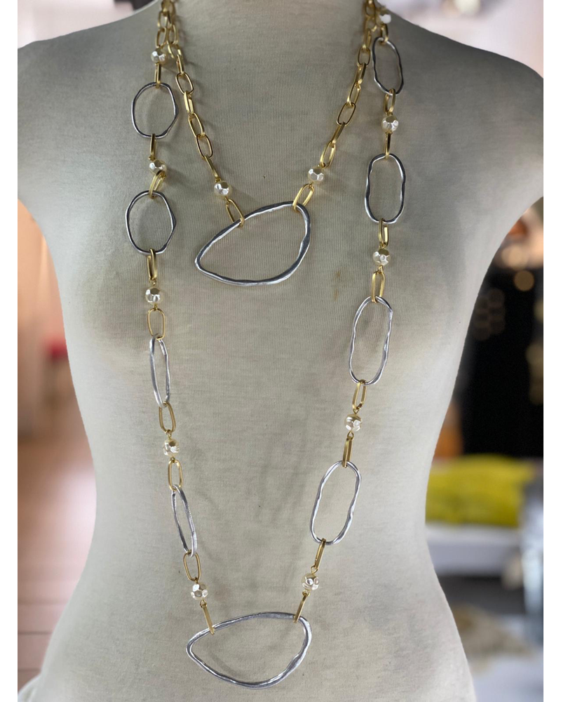 Double chain long necklace pearl