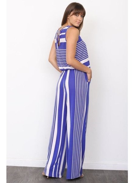 Sleeveless Stripe Drawstring Jumpsuit