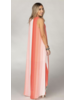 Coral Stripe Hi Low Dress