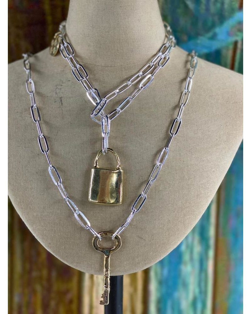 """Handcast Gold 21 2 key 30"""" Chain Necklace"""