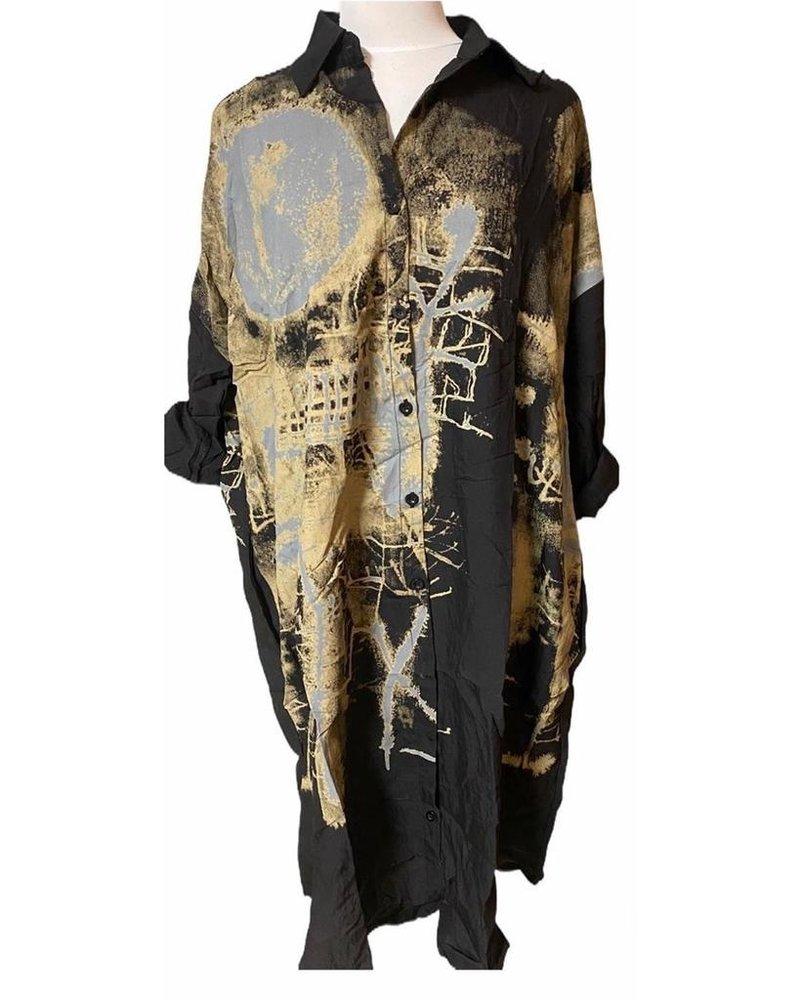 Black Print Shirt Dress one size