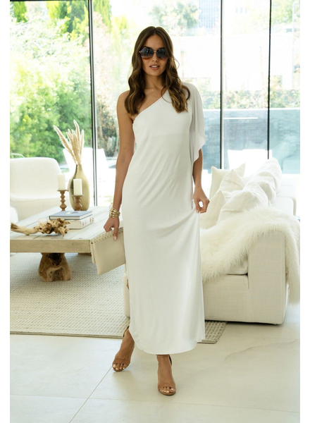 Single Sided Drape Sleeve Off Shoulder Maxi Dress