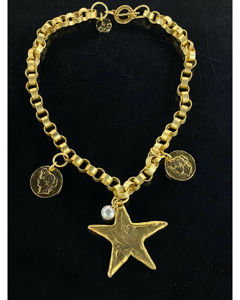 Big Star and Coins Necklace