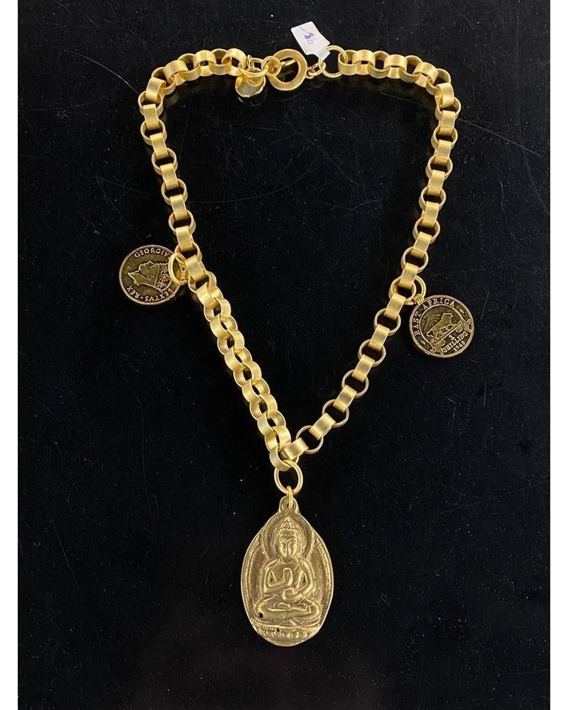 Budha Necklace 18k Gold Plated