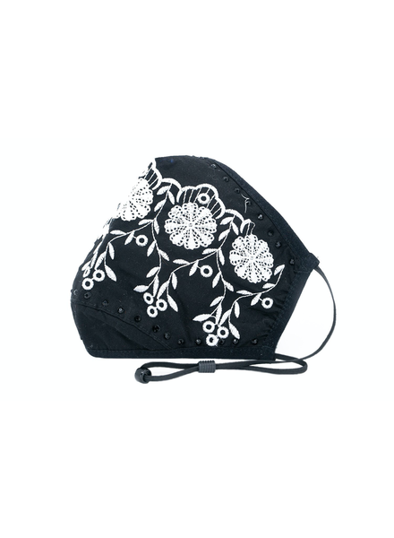 Scalloped Embroidery Mask (Black)