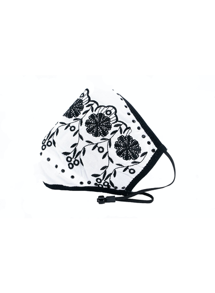 Scalloped Embroidery Mask (White)