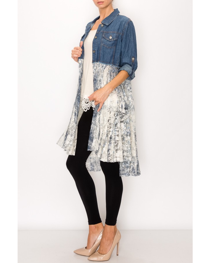 DENIM SHIRT WITH PRINTED LACE LAYER PLUS ONE SIZE